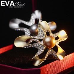EVA颐娲高端胸针 高档气质百搭镶钻珍珠 胸花 花卉胸花 别针 6717
