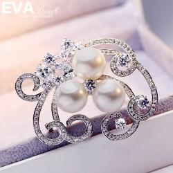 VA颐娲高档胸针  气质百搭精致锆石珍珠胸针 别针  6722