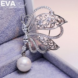 EVA颐娲高端胸针 气质百搭蝴蝶吊珍珠胸针   韩国饰品 6719