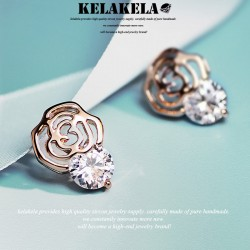 KELAKELA 精致时尚气质百搭白领女耳钉耳环锆石蔷薇 K211