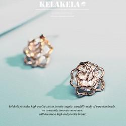 KELAKELA 气质百搭时尚潮流蔷薇耳钉耳环 锆石 K208