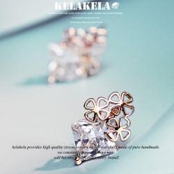 KELAKELA 气质百搭精致锆石时尚潮流四叶草耳钉耳环 女 韩国饰品 K213