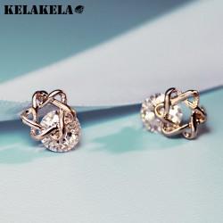 ELAKELA 精致锆石百搭时尚六芒星阵女耳钉耳环 送礼物 K215