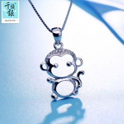 千族银珠宝 S925纯银十二生肖镂空卡通可爱小猴子项链 吊坠 女 Q142
