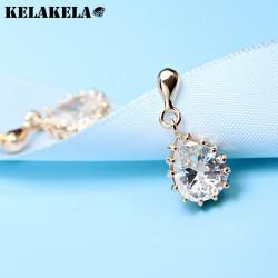 KELAKELA  气质百搭精致水晶水滴耳钉耳环 女 韩国流行饰品 K229