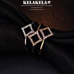 KELAKELA 精致锆石四边形韩版戒指指环 气质个性风 情人节礼物 K1002