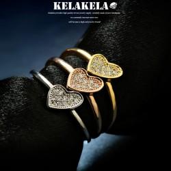 KELAKELA 精致锆石桃心韩版戒指指环街头风格情人节礼物 K1001