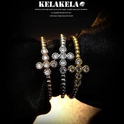 KELAKELA 精致锆石十字架韩版戒指指环  韩国饰品 情人节礼物 K1011