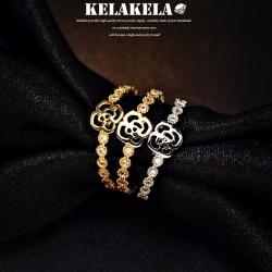 KELAKELA 精致锆石蔷薇玫瑰花韩版戒指指环 情人节礼物 K1005