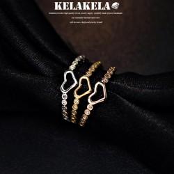 KELAKELA 精致锆石桃心韩版戒指环 情人节礼物 K1007