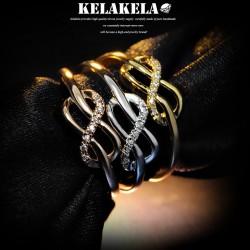 KELAKELA  个性简约日韩版戒指指环食指尾指女微镶锆石韩国饰品 K1012