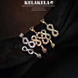 KELAKELA 精致锆石无限大开口戒指指环 情人节礼物 K1010