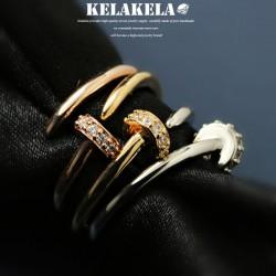 KELAKELA 精致锆石钉子戒指指环 时尚潮流风 情人节礼物 K1003