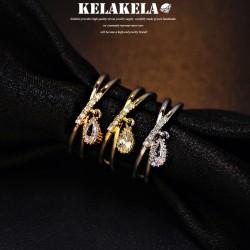 KELAKELA 精致锆石水滴水晶韩版戒指指环 情人节礼物 K1008