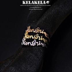 KELAKELA  精致锆石英文字母韩版戒指指环 情人节礼物 K1006