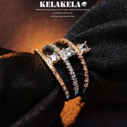 KELAKELA 个性时尚简约风饰品微镶锆石戒指女指环食指尾指 K1021
