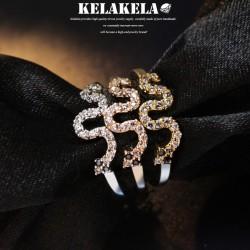 KELAKELA 个性时尚简约风日韩版饰品蛇形细戒指女指环食指 K1030