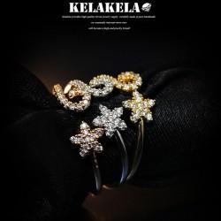 KELAKELA 个性时尚简约风日韩版开口五角星戒指女指环食指 K1019