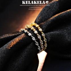 KELAKELA 个性时尚简约风日韩版饰品锆石细戒指女指环食指 K1033