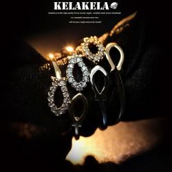 KELAKELA 个性时尚简约风日韩版饰品情侣对戒镂空小鱼戒指女指环食指 K1052
