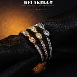 KELAKELA 个性时尚简约风日韩版饰品锆石眼镜戒指女指环食指 K1024