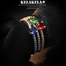 KELAKELA 个性时尚简约日韩版戒指指环尾指食指锆石多色可选 K1018