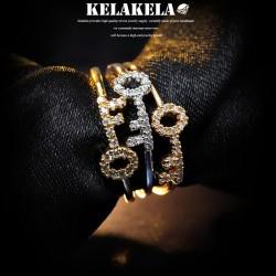 KELAKELA 个性时尚日韩版饰品锆石钥匙戒指女指环尾指食指 K1015