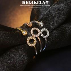 KELAKELA 个性时尚简约风日韩版开口圈圈细戒指女指环食指 K1023