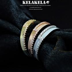 KELAKELA 个性时尚简约风日韩版饰品情侣对戒锆石光面戒指女指环食指 K1066