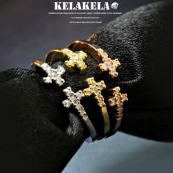 KELAKELA 个性时尚简约风日韩版饰品情侣对戒锆石十字架戒指女指环食指 K1069