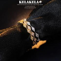KELAKELA  个性时尚潮流风简约细戒指女微镶锆石指环尾指食指 K1022