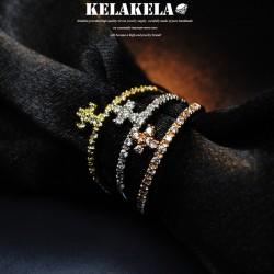 KELAKELA 个性时尚简约风日韩版饰品十字架细戒指女指环食指  K1026