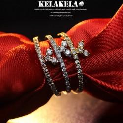 KELAKELA 个性时尚简约风日韩版饰品情侣对戒锆石三角戒指女指环食指 K1056
