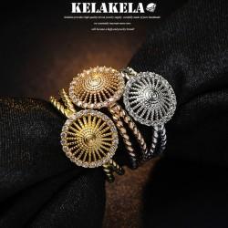 KELAKELA 个性时尚简约风日韩版饰品太阳花戒指女指环食指 K1029