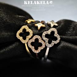 KELAKELA 个性时尚简约风日韩版饰品情侣对戒锆石镂空开口四叶草戒指女指环食指 K1065