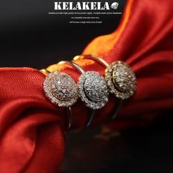 KELAKELA 个性时尚简约风日韩版饰品情侣对戒圆形锆石镂空戒指女指环食指 K1042