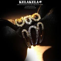 KELAKELA 个性时尚简约风日韩版饰品情侣对戒锆石镂空戒指女指环食指 K1051