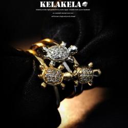 KELAKELA 个性简约时尚日韩版可爱小乌龟戒指指环尾指食指多色可选 K1016