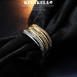 KELAKELA 个性时尚简约风日韩版饰品微镶锆石情侣对戒细戒指女指环食指 K1034