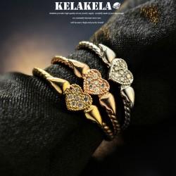 KELAKELA 个性时尚简约风日韩版饰品情侣对戒锆石爱心桃心翅膀戒指女指环食指 K1067