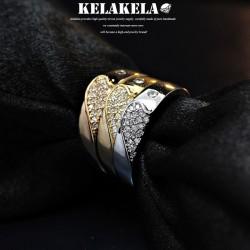KELAKELA 个性时尚简约风日韩版饰品锆石宽戒指女指环食指 K1035