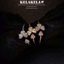 KELAKELA 个性时尚简约风日韩版饰品情侣对戒锆石开口桃心三叶草戒指女指环食指 K1057