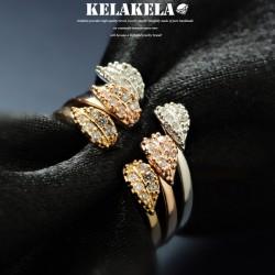 KELAKELA 个性时尚简约风日韩版饰品情侣对戒锆石开口叶子戒指女指环食指 K1058