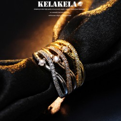 KELAKELA 个性时尚简约风日韩版饰品锆石戒指女指环食指 K1036
