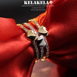 KELAKELA 个性时尚简约风日韩版饰品情侣对戒爱心细戒指女指环食指 K1044