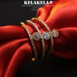 KELAKELA 个性时尚简约风日韩版饰品情侣对戒圆锆石细戒指女指环食指 K1039