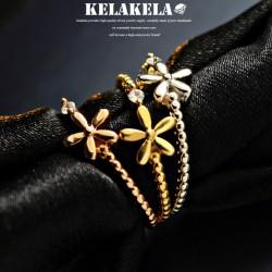 KELAKELA 个性时尚简约风日韩版饰品情侣对戒锆石五叶花戒指女指环食指 K1070