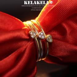 KELAKELA 个性时尚简约风日韩版饰品情侣对戒爱心细戒指女指环食指 K1037