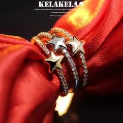 KELAKELA 个性时尚简约风日韩版饰品情侣对戒五角星细戒指女指环食指  K1046