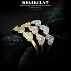 KELAKELA 个性时尚简约风日韩版饰品情侣对戒锆石爱心桃心戒指女指环食指 K1059